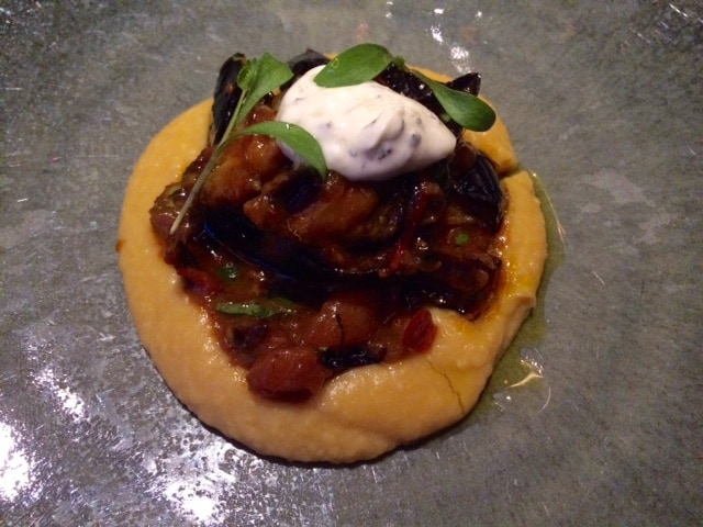 Channa dal-puree / scherp-zure aubergine