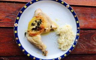 Citroen-kip, citroen risotto en Viognier van Chapoutier