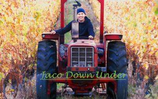 Jaco van Hensbergen op tractor in wijngaard