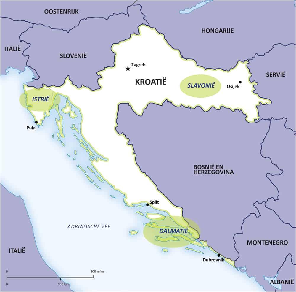 Kroatische wijnen kaart via Croatiangrapes