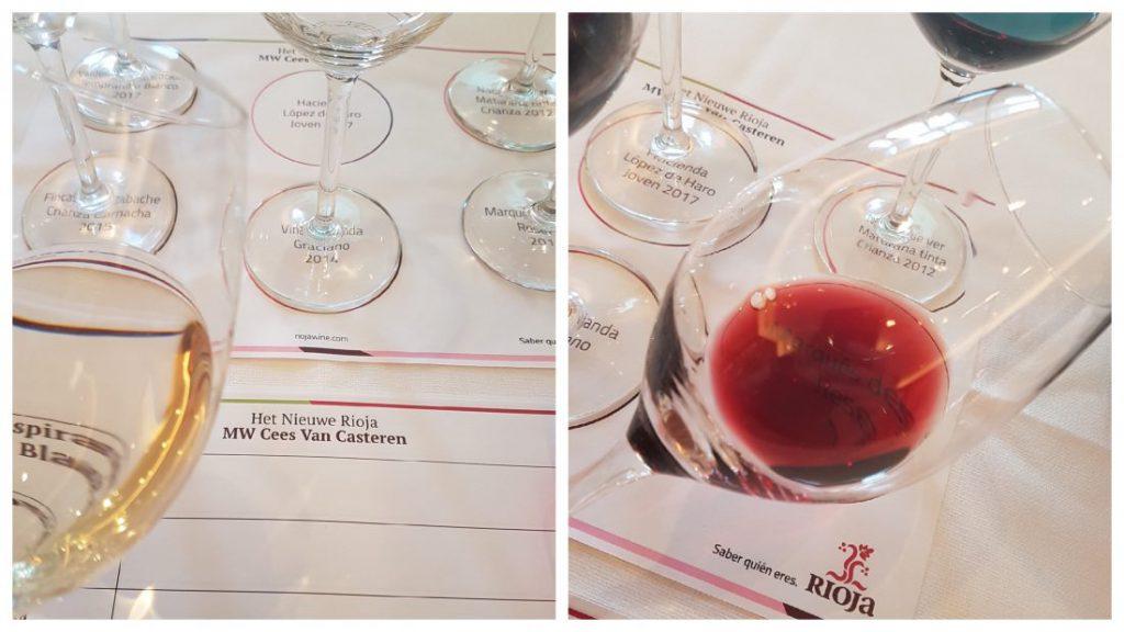 Rioja wit en rood in glas
