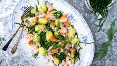 Aardappelsalade zalm dille. foto: Littlespoon.nl